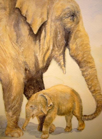 watercolour animal  painting Indian elephants, mother and baby