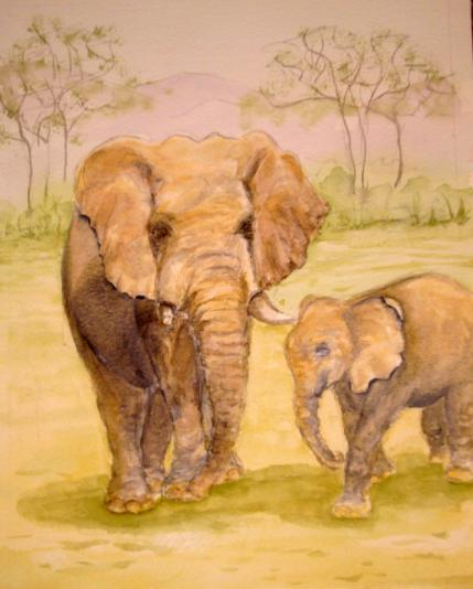 watercolour animal painting, elephants, mother and baby
