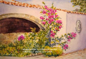 watercolour house portrait featuring an arched wall and bougainvillea in Spain