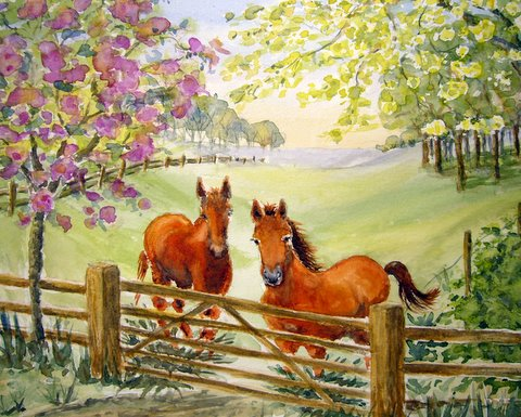 watercolour - animals - 2 chestnut horses at the gate